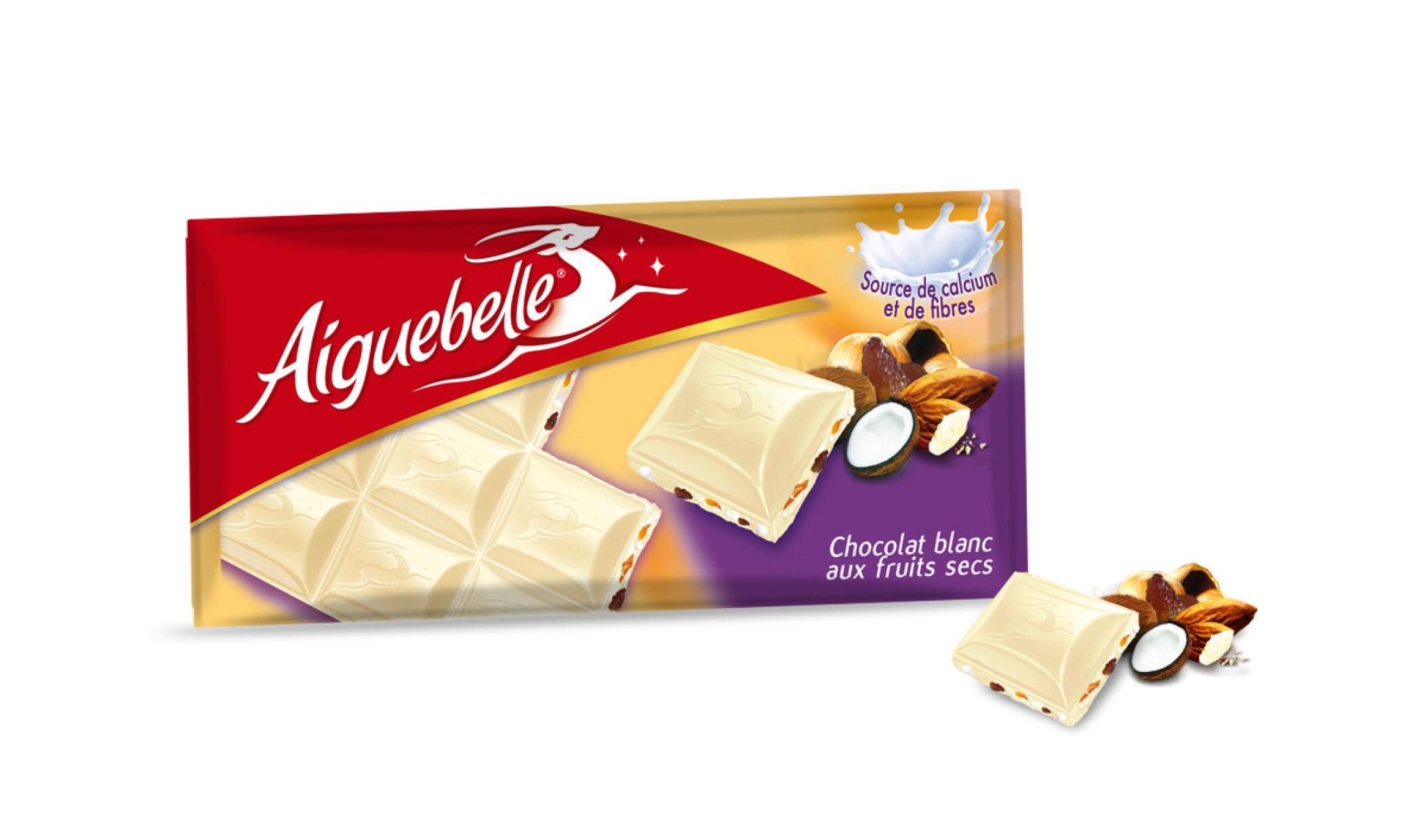 Packaging chocolat blanc aux fruits secs Aiguebelle
